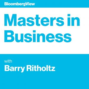 The logo for Masters in Business by Bloomberg, featuring Barry Ritholtz, the host. This podcast focuses on all things finance. Often having guests that have made an impact on the world of finance. Current events plays a roll as to how finance is impacted by them.
