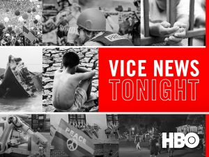 The logo for Vice News Tonight on HBO, a show every week day evening explaining the days news and current events in only about 20 minutes. A great news source to watch after work or while making dinner.
