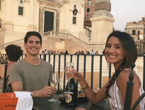 Alex and I at the Spanish Steps enjoying the sunset and Prosecco