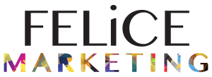 The Felice Marketing Logo. Felice is in all black and Marketing is is many different colors giving it a chic look.