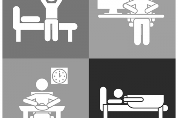 A collage of four photos total, going clockwise, show the average persons daily routine. Wakeup, work, eat, and sleep. A featured image for a Felice Marketing blog post about optimizing your daily routine for the life you're striving for.