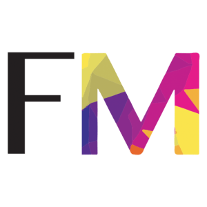 The Felice Marketing micro logo. That consists of the F and the M from Felice Marketing with the F being painted black and the M with many different colors on it.