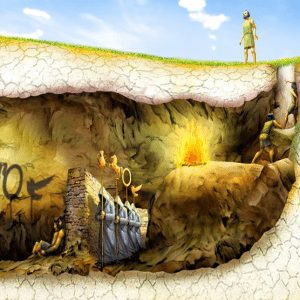 A depiction of Plato's Allegory of the cave, a featured image for a blog post by Felice Marketing about staying up to date on current events and making sure you are not left in the cave of ignorance.