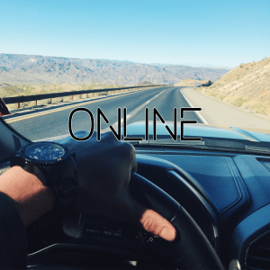 An instagram photo of the driver's view in a Ford F150 Black Ops by Tuscany edition truck while driving through the mountains of Nevada on the way to Las Vegas. This is the last part of a collage of images that together say Your Online Presence Can Make Or Break Your Business by Felice Marketing.