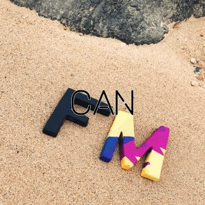 An instagram photo of two metal trinkets that are cut in the shape of F and M and painted in the colors of the micro logo of Felice Marketing. These are laid on the beach sand near a rock on the shore of Wai Ki Ki beach in Oahu, Hawaii. This is the last part of a collage of images that together say Your Online Presence Can Make Or Break Your Business by Felice Marketing.