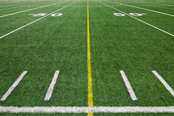 American football field at the fifty yard line